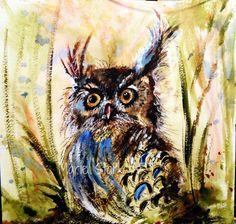 Woodland Owl by MarieStarkART on Etsy, $20.00