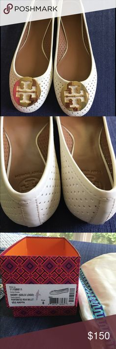 Tory Burch Reva Ballet Flat Authentic Tory Burch Perforated Reva Ballet Flat; Ivory with gold logo; size 8. Never worn!! Comes with original box and dust bag! Price is firm. No trades. Tory Burch Shoes Flats & Loafers