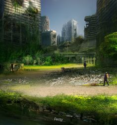 Green wasteland by hikaruga Apocalypse Art, Apocalypse Survival, Dystopian Art, Post Apocalyptic City, Ruined City, Abandoned Cities, Dark City, Fantasy Landscape, End Of The World