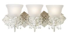 """Old World Designer 24"""" Wide Bathroom Light Fixture by Universal Lighting and Decor. $179.91. This antique chic bathroom light fixture is a fast and easy way to add charm to a bath or hall area. The hand-rubbed antique white finish is accented by glass droplets and frosted seedy glass."""