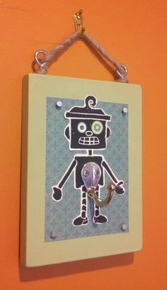 Robot Block Print with Hooks Well Hung  5x7 by AroundTheBlockVT, $39.95