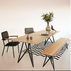 Studio H&K | Design Eettafels Stoelen Eettafelbanken Krukken Wandkasten Salontafels Meubels Eikenhout Staal Butterfly | Butterfly table & bench! | www.studio-henk.nl