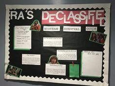 """Did this """"Ned's Declassified School Survival Guide"""" inspired bulletin board for one of my floors! College Bulletin Boards, Interactive Bulletin Boards, Spring Bulletin Boards, Ra College, Education College, Health Education, Physical Education, College Students, Ra Jobs"""