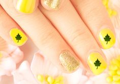 Yellow nails with green leaves design Vacation Nails, Living On A Budget, Yellow Nails, Simple Nail Designs, Simple Nails, Leaf Design, Wedding Nails, How To Do Nails, Green Leaves