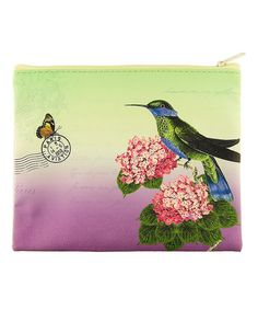 Another great find on #zulily! Green & Purple Hummingbird Cosmetic Bag #zulilyfinds