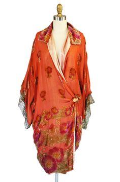 Silk velvet and gold thread flapper cocoon coat.