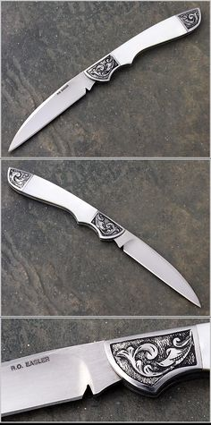 Russell Easler, Pearl Gentlemens Folder with engraved bolsters Knives And Tools, Knives And Swords, Engraved Pocket Knives, Survival, Dagger Knife, Swords And Daggers, Best Pocket Knife, Handmade Knives, Custom Knives