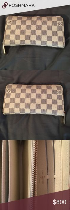 Authentic Louis Vuitton wallet blue white checker Authentic Louis Vuitton wallet blue white checker with gold zipper. Used but great condition. Fabrics near the zipper is dirty from use but can be cleaned. Comes with original box. Louis Vuitton Bags Wallets