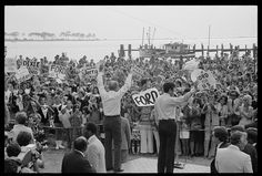 President Gerald Ford waves to a crowd at a campaign stop in Biloxi, Mississippi.