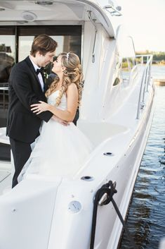 Disney Fairy Tale Wedding couple takes wedding portraits on the Grand Yacht 1