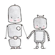 Robot Friends Forever 8x10 archival print, Baby nursery print on Etsy, $20.00