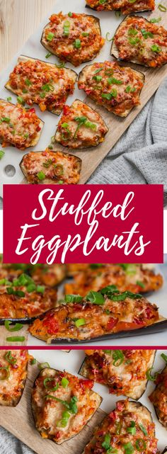 Eggplants roasted with sauteed vegetables and basil, topped with crusted parmesan and scallions. Makes for the perfect vegetarian, holiday appetizer!