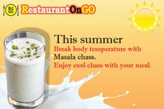 """In hot weather body need AC and tummy need masala chaas. Enjoy your meal with healthy drinks, surely tummy will say thank you. Order masala chaas on """"restaurantongo"""" app or restaurantongo.com #chaas #drink #colddrink #meal #food Cold Drinks, Healthy Drinks, Glass Of Milk, Weather, Restaurant, App, Meals, Food, Cool Drinks"""