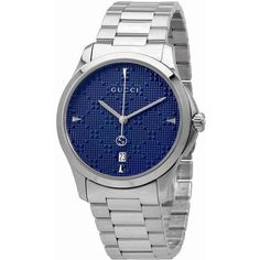 Gucci G-Timeless Diamante Blue Dial Ladies Watch (6.360.725 IDR) ❤ liked on Polyvore featuring jewelry, watches, diamante jewelry, analog watches, quartz movement watches, stainless steel wrist watch and gucci jewellery