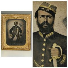 Louisiana Confederate Officer 1/2 Plate Ambrotype. The subject's dark good looks strongly suggest that he is an early war Creole Confederate. Additionally, his sword has a distinctive guard associated with those made by Thomas-Griswold & Co. of New Orleans before the city's fall in 1862. These two factors would indicate a Louisiana provenance. The fabric of the officer's uniform is also of the typical dark cloth associated with Louisiana. His kepi, having three horizontal stripes of gold…