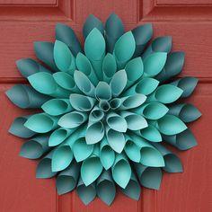 Paper Dahlia Flower Wreath - So pretty. I remember making a wreath like this in school