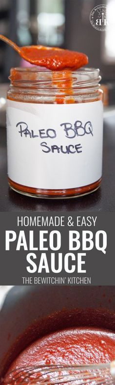 Homemade Paleo BBQ Sauce - this super easy bbq sauce recipe is perfect. Add it to all of your paleo recipes. Tastes great with chicken, turkey and beef. Sure to be a summer bbq recipe favourite. | The Bewitchin' Kitchen