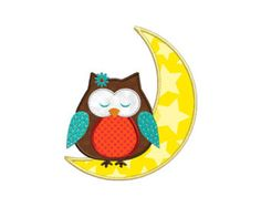 Moon Owl Individual APPLIQUE Machine Embroidery Designs