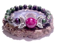 Moon Goddess, Stretch Bracelet, Wiccan, Pagan, Metaphysical Jewelry, New Age, Priestess, Triple Moon, Hand Fasting, Ruby, Ruby Zoisite, July by MoonMajickStudio on Etsy