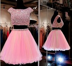 Pink Homecoming Dress,2 Piece Homecoming Dresses,Beading Homecoming Gowns,Short Prom Gown,Sweet 16 Dress,Bling Homecoming Dress,2 pieces Cocktail Dress,Yellow Evening Gowns