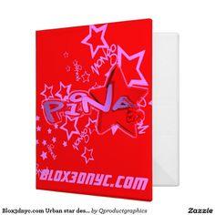Blox3dnyc.com Urban star design for Pina. 3 Ring Binder. #blox3dnyccom,# urban,#star, #pink, #hiphop, #red #personalized #binder #custom #books