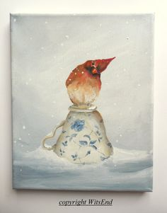 'WHEN THE PARTY'S OVER'. Bird Teacup painting winter female Cardinal in snow by 4WitsEnd, VIA etsy