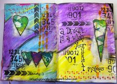 The hearts are a Gelli plate printed on deli paper.. I went around them with my black Stabilo pencil and a waterbrush..   Lonely Cards and other arty crafty things.