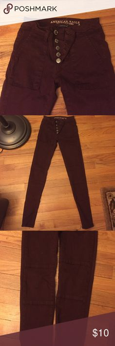 Selling this Burgundy Super Stretch Jeggings in AEO Sateen in my Poshmark closet! My username is: catcas123. #shopmycloset #poshmark #fashion #shopping #style #forsale #American Eagle Outfitters #Pants