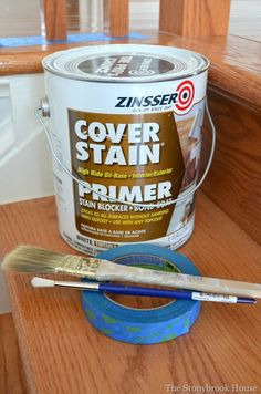 Best Primer EVER! Painting Stair Spindles and Stair Risers The Best Primer EVER! Painting Stair Spindles and Stair RisersThe Best Primer EVER! Painting Stair Spindles and Stair Risers Painted Stair Risers, Stair Spindles, Staircase Remodel, Staircase Makeover, Foyers, House Tweaking, Wood Repair, Best Primer, Farmhouse Remodel