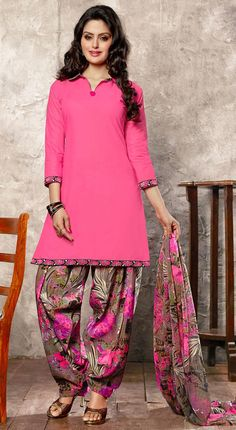 USD 23.27 Pink Cotton Punjabi Suit 44932