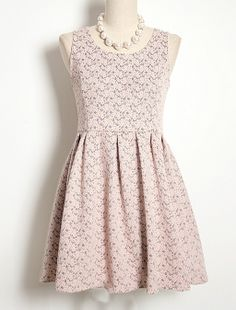Pink Sleeveless Floral Lace Embroidery Pleated Dress - Fashion Clothing, Latest Street Fashion At Abaday.com