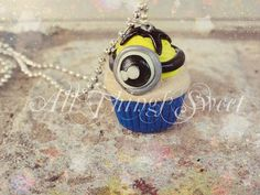 """Handmade Disney Pixar Despicable Me Minion Inspired Polymer Clay Cupcake, 18"""" Ball Chain Necklace"""