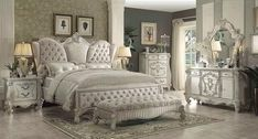 Versailles Upholstered Bedroom Set W Ivory Bed with dimensions 1900 X 1024 Versailles Bedroom Furniture Collection - Homeowners became more demanding with Luxury Bedroom Sets, King Size Bedroom Sets, Queen Bedroom, Luxurious Bedrooms, Modern Bedroom, Velvet Bedroom, Luxury Bedding, Ivory Bedroom, Royal Bedroom
