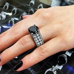 12.63 Carat Certified Natural Black Diamond Engagement Ring 14k Black Gold - Style # BDR-234 - $9800 #ring #engagement #rings #jewelry #bridal #diamond #diamonds #blackdiamond #blackdiamonds #blackgold #lioridiamonds