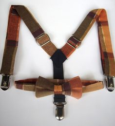 bow tie and suspenders for toddler boy - harvest green gold orange plaid.