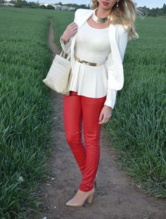 white peplum top, red leather pants, nude heels