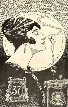 Propaganda de 1917 dos Cigarros Carvalhinho onde uma mulher protagoniza o estilho de fumar com elegância