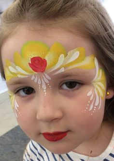 Beauty and the Beast crown , yellow , red Disney Face Painting, Princess Face Painting, Painting For Kids, Body Painting, Monkey Face Paint, Cool Face Paint, Mime Face Paint, Halloween Makeup For Kids, Belle Halloween