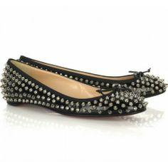 d159955db9b Christian Louboutin Big Kiss Studded Flats Black Louboutin Shoes Outlet