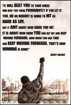 Most memorable quotes from Rocky Balboa, a movie based on film. Find important Rocky Balboa quotes from film series:Rocky Rocky II Rocky III Rocky IV Rocky V and Rocky Balboa Check InboundQuotes for Frases Do Rocky, Rocky Quotes, Rocky Balboa Quotes, Best Motivational Quotes, Great Quotes, Inspirational Quotes, Motivational Tattoos, Motivational Speakers, Funniest Quotes