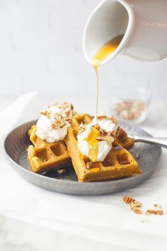 Whole Wheat Pumpkin Waffles are spiced with the perfect flavors of fall. They are fluffy on the inside and crunchy on the outside, like a waffle should be.