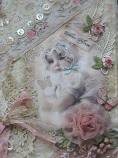Shabby Mixed Media Collage Baby Album Fabric Journal Lace and Ribbonwork | eBay