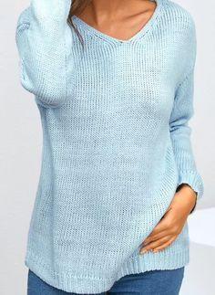 V-nek Plain Casual Ruim Lang Shift Truien - Floryday Latest Fashion For Women, Latest Fashion Trends, Fashion Online, Women's Fashion, Pulls, Sweaters For Women, Lingerie, Pullover, Knitting