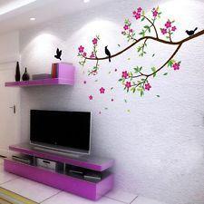 Extraíble vívida flor Ramas Aves pegatinas de pared calcomanía Arte Mural Home Decor