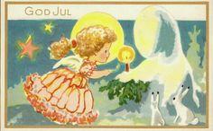 Julekort Kittelsen, Chr. Englebarn m/lys. Utg Aune