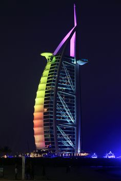 Burj al Arab (UAE). We stayed at the Jumuriah Beach Resort, and this was our view every night. We couldn't take our eyes off it, it's such a beautiful building.