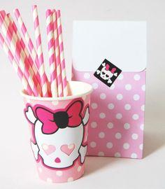 Copos Poá Rosa personalizados para festa Monster High #party #monsterhigh