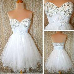 Simple white strapless dress