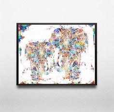 elephant wall art print painting poster wall от ThestoryoftheFall