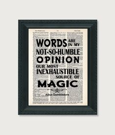 Harry Potter Print Dumbledore Quote Words Inexhaustible Source Of Magic Typography Dictionary Page Art